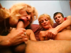 Two aged blondes have a fun foursome banging with juvenile dudes
