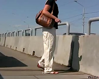 Outdoor public pissing scene with perverted blond Irina