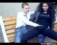 Teen Lets Friends Play With Her Pussy In Public