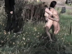 Two fastened cuties receive whipped ourdoors and indoors in BDSM scene