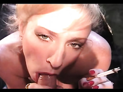Blowing dong and smokin' have to be fun for my golden-haired milf black cock sluts