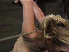 Busty blond hoochie receives totally dominated during her BDSM session
