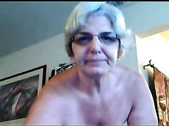 Four eyed granny with saggy tits shows it all on cam