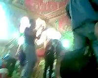 Curvy brunette hair whore dances at a party in hidden livecam clip