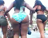 Met this good ebony phattie walking down the street in bikini
