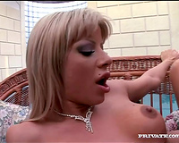 Fake-boobed blond receives sandwiched in sexy Male+Male+Female 3some movie scene