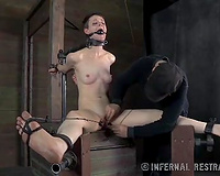 Slave black cock sluts with her legs widen wide acquires her snatch stretched and toyed