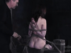 BDSM scene with sexy floozy getting her twat toyed to big O