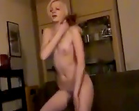 Skinny chat model with petite wobblers puts on a worthwhile striptease show for me