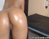 Black Chick Tries to Fist Herself on Cam then Sucks White Boy Cock