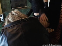 Fat golden-haired lesbo gets dominated by slim dark brown milf