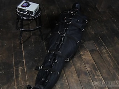 Ridiculously sexually excited taskmaster puts his serf in sleep sack