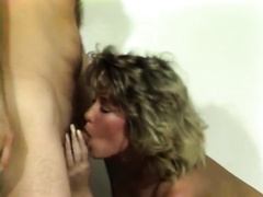 Retro golden-haired milf gives a oral-stimulation and receives drilled from behind
