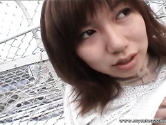 Lewd Japanese babe shows her scoops and love tunnel to a fellow outdoors
