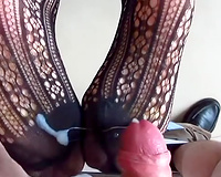 Drilling my wife's pussy doggy style and cumming on her feet
