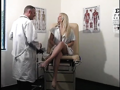 Amateur blond acquires nasty at a gynecologist's office