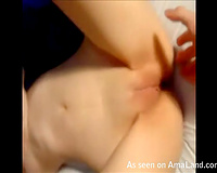 Dude tapes how his cute Asian girlfriend finger copulates her taut love tunnel
