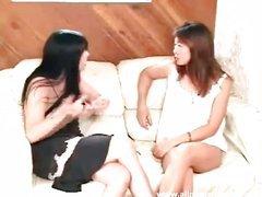 Asian and dark brown chick begins thrashing man