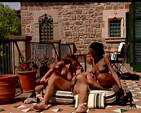 Great bodies on skinny beauties taking pecker outdoors