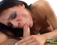 Raven haired minx new from overseas receives fucked