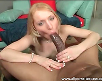 Cutie with a taut body takes large dark shaft