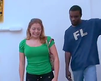 Babe follows him home to engulf the large dark penis