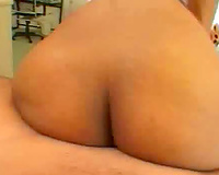 Big gazoo dark housewife sits on weenie POV style