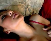 Slut in satin corset masturbates and sucks rod