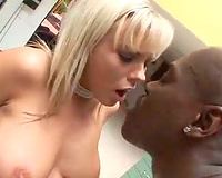 Rubbing dark rod on her cum-hole in the kitchen