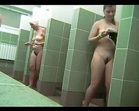 Astonishing hidden camera scene from a public shower