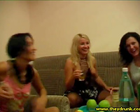 Three perverted slender beauties go lesbo after having a party