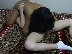Eating captivating Indian cheating wife in 69 position from the bottom