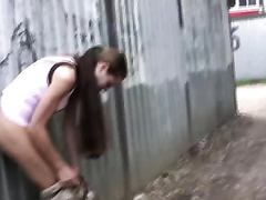 Public pissing movie scene with perverted brunette hair babe Olga