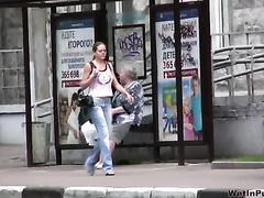 Public pissing movie scene with perverted brunette hair babe Olga