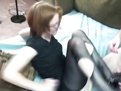 Redhead mommy in hose receives her twat licked and team-fucked unfathomable
