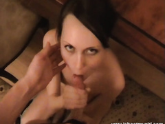 Big breasted brunette hair performs her hubby fine unfathomable face hole