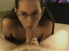 Nerdy twenty yo girlfriend gives me nice oral-service and takes facial