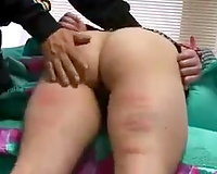 Chubby Asian butt of my aged white wife is bound and caned