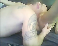 Eating and fucking constricted love tunnel of my svelte girlfriend on webcam