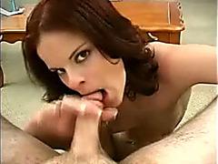 Perky nosed brunette hair BBC slut gives oral-sex on POV clip