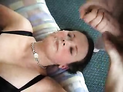 Huge ribald facial for my gorgeous black haired girlfriend