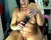 Voracious and aged brunette housewife playing on cam