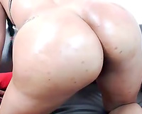 Thick Latina mamma pushing her booty with damn large sex toy