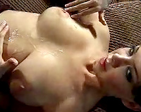 Busty brunette hair doxy jacks me off and receives pearl necklace