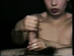 Chubby Asian mother I'd like to fuck treats thick white monster shlong with tugjob