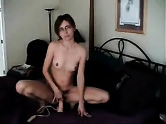 I fuck my pussy with my fresh sex toy in front of my spouse