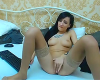 Big breasted supple skinny brunette played with her pleasing soaked wet crack