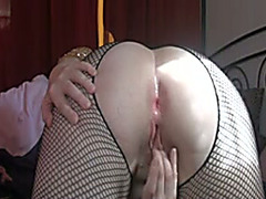 Check out my white milf gazoo from behind in fishnets