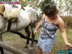 . This wife from the video of zoophilia today! Immense sex with a huge cock horse