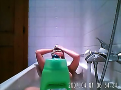 Simply hot milf blond horny white wife in the bathtub on homemade clip